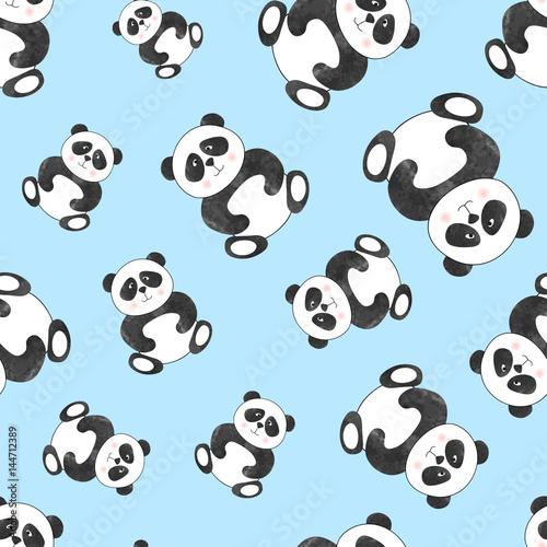 niebieskie-tlo,-panda,-tapeta,-plakat