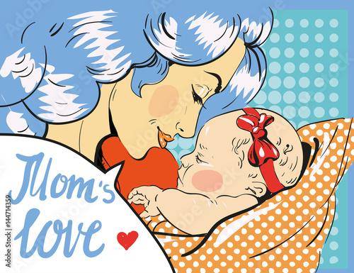 Fotobehang Pop Art Mothers day. Mother and daughter in pop art retro comic style. Vector art