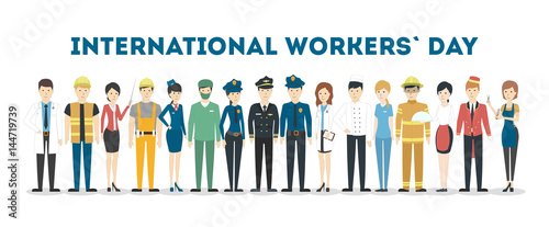 International labor day. People with different jobs as plumber, doctor and more. White background.