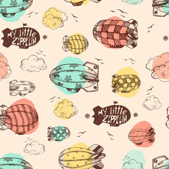 Hand drawn vector vintage seamless pattern with cute little airc