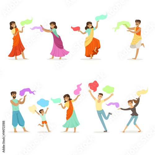 Smiling people dancing in national Indian costumes set for label design. Indian dance, Asian culture, cartoon detailed colorful Illustrations © topvectors