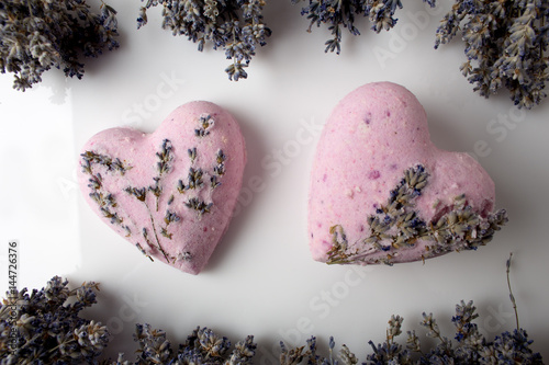 Poster Lavender Bath bombs on a white background