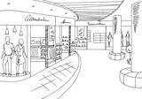 Shopping mall graphic black white interior sketch illustration vector - 144729586