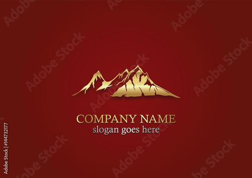 Fotobehang Bruin gold mountain nature vector logo