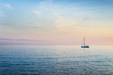Rich evening color palette of sunset. Mediterranean Sea. Italy.
