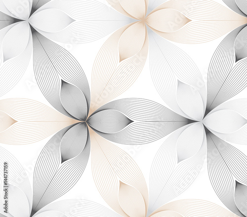 flower pattern vector, repeating linear petal of flower, monochrome stylish - 144737159