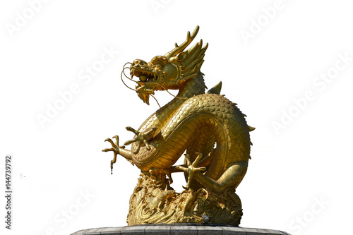 Isolated Golden Dragon Sculpture Poster