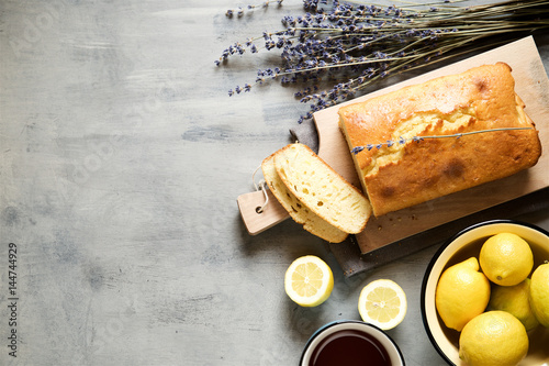 Homemade lemon cake with lavender.Top view, copy space Poster