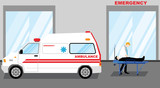 Simple cartoon illustration of a man has taken to Emergency Room with an Ambulance - 144745513