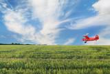 Red airplane biplane with piston engine