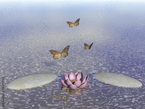 Butterflies in flight in a Zen landscape - 3D rendering