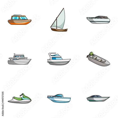 Sea transport, boats, ships. To transport people, thunderstorms. Ship and water transport icon in set collection on cartoon style vector symbol stock illustration.