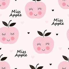 Seamless pattern with abstract smiling apples