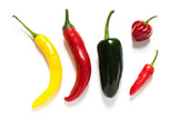 Various hot chillies on white background