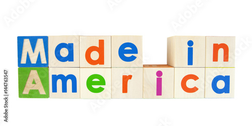 MADE IN AMERICA concept written with colorful alphabet blocks Poster
