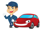 Mechanic leaning on car