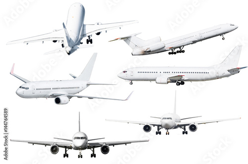Set of six aircraft isolated from the background Poster