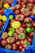 Fresh organic colorful tomatoes on farmers market