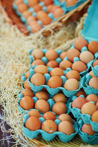Fresh eggs on farmers market Poster