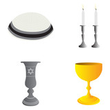 Set of traditional jewish related objects, Vector illustration - 144768167
