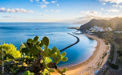 Poster Canarische Eilanden Amazing view of beach las Teresitas with yellow sand. Location: Santa Cruz de Tenerife, Tenerife, Canary Islands. Artistic picture. Beauty world.