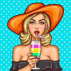 Vector illustration of a sexy pop art girl in a wide-brimmed hat holding a cocktail in her hand and drinks through a straw
