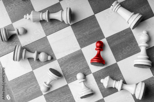 Poster Chess business concept, leader & success from top view