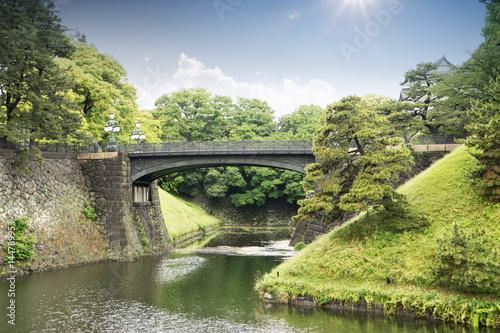 stone bridge over river in tokyo Poster