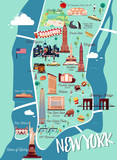 Fototapety New York Manhattan Illustration Map