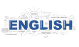 Fototapety Design Concept Of Word ENGLISH Website Banner.