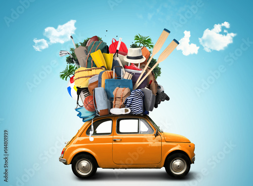 Vacation and travel, a huge pile of things for the holiday - 144801939