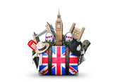 England, vintage suitcase with British flag - 144805538