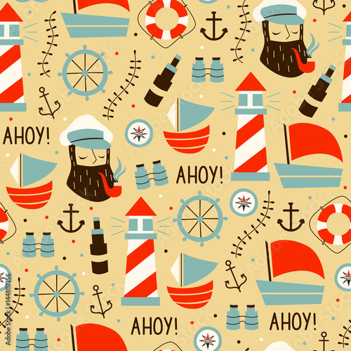 Materiał do szycia Seamless Pattern with Sailors, Wheel, Ship, and Different Elements.