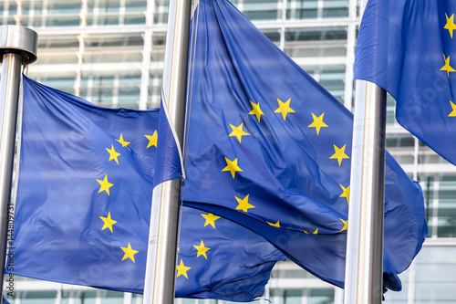 Foto op Aluminium Brussel european flag europe building international