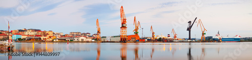 Panoramic view of industrial port