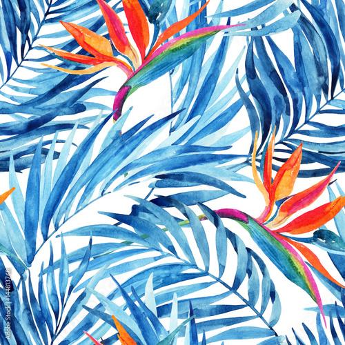 Fototapeta Watercolor tropical leaves and flowers summer seamless pattern.