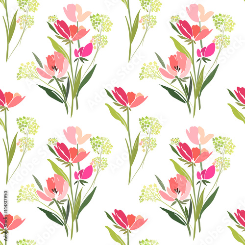 Seamless pattern with a bouquet of tulips on a white background. - 144817950