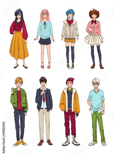 Set of cute anime characters. Cartoon girls and boys. Colorful hand drawn illustration collection. - 144821343