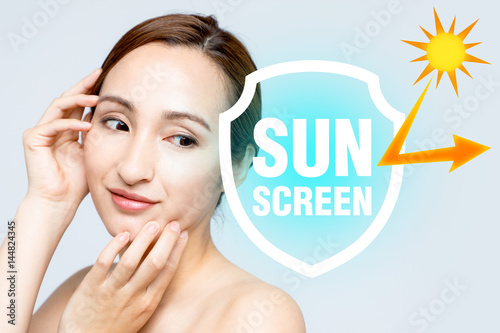 beautiful woman and sunscreen, UV protection. Poster