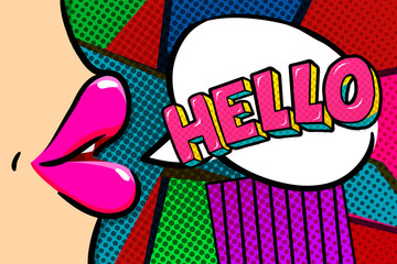 Hello Message in pop art style