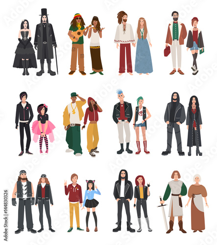 Set of different subculture. Couple rapper, hipster, punk, rocker, hippie, goth, emo, historical reenactors, metalhead, biker, rastaman. Girl and guy in flat style illustration collection. - 144830326