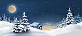 illustration of a winter landscape. Snowy Christmas night.