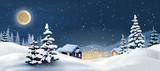 Fototapety  illustration of a winter landscape. Snowy Christmas night.