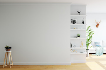 mock up wall interior. Scandinavian style. Wall art. 3d rendering, 3d illustration