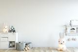 mock up wall in child room interior. Interior scandinavian style. 3d rendering, 3d illustration - 144844933