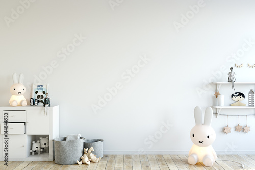 mock up wall in child room interior. Interior scandinavian style. 3d rendering, 3d illustration - 144844933