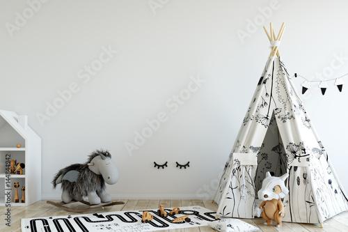 makieta do ściany w pokoju dziecięcym. Wnętrze w skandynawskim stylu. 3d rendering, 3d ilustracja