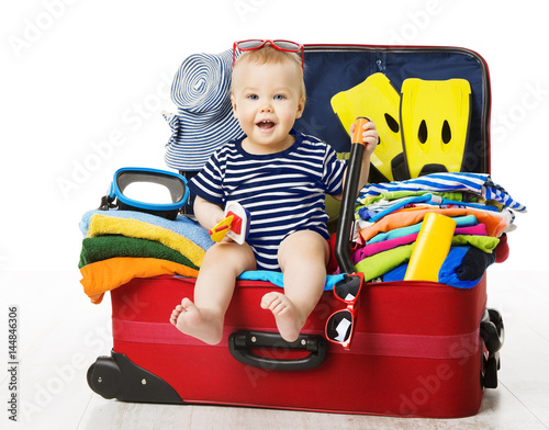 Poster Baby in Travel Suitcase, Kid Sitting Vacation Luggage, Child inside Packed Bag,