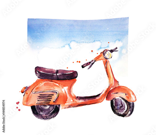Vintage scooter, Watercolor illustration - 144854974