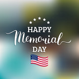 Vector Happy Memorial Day card. National american holiday illustration with USA flag.Festive poster with hand lettering. - 144861307